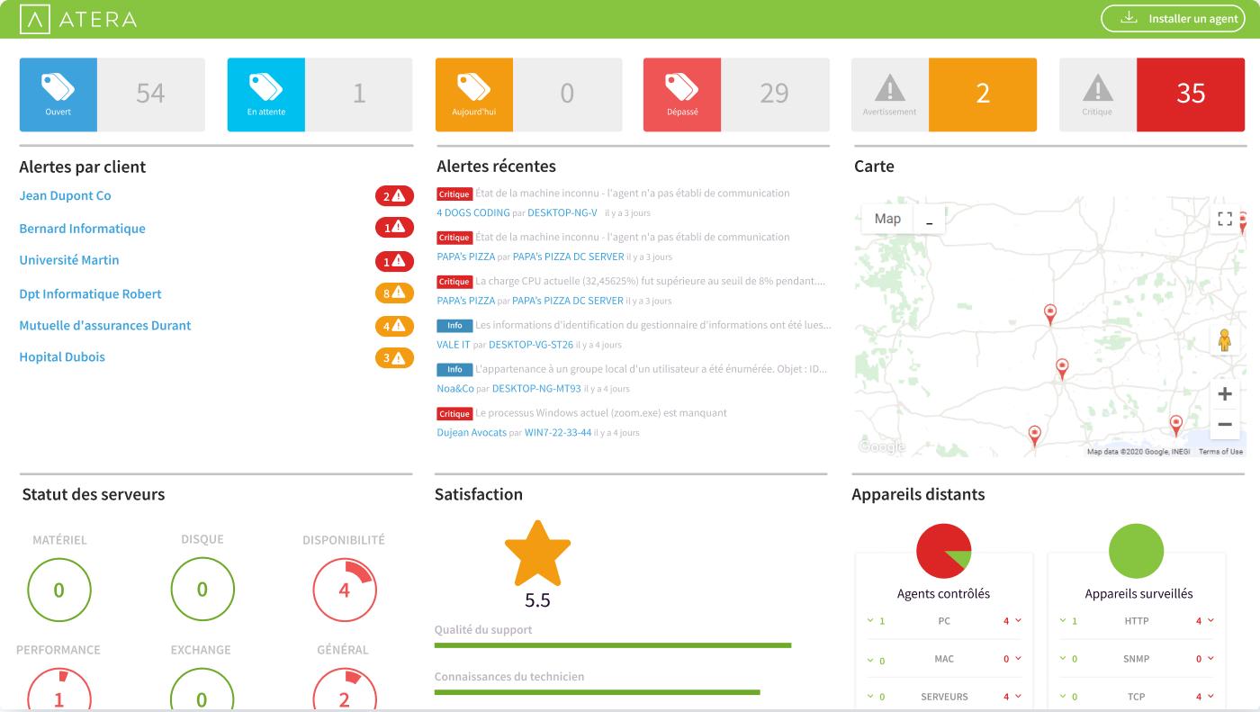 Tableau de bord du logiciel RMM d'Atera, gestion des alertes, des scripts, des tickets, connexion à distance et bien plus en un seul endroit - Il s'agit vraiment du meilleur RMM et PSA pour les MSP
